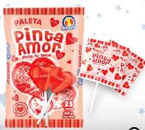 Paleta de caramelo duro en forma de corazón, con